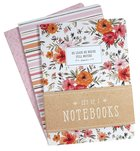 Notebook: He Leads Me Besides, Pink Floral (Set Of 3) Paperback