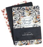 Notebook: Through Christ, Navy Leaves (Set Of 3) Paperback