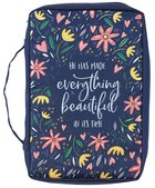 Bible Cover Large: Everything Beautiful Navy (Ecc. 3:11) Fabric
