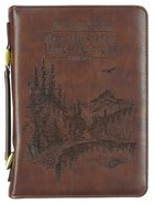Bible Cover Large: Wings Like Eagles Brown (Isaiah 40:31) Imitation Leather