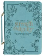 Bible Cover Large: She is Clothed With Strength (Proverbs 31:25) Imitation Leather