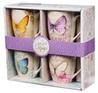Ceramic Mugs 355ml: Butterflies (Set Of 4) Homeware