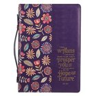 Bible Cover Medium: I Know the Plans Purple Floral (Jer. 29:11) Imitation Leather