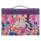 Bible Cover Large: Trust in the Lord, Purple Floral Imitation Leather