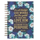 Journal: In All Things God Works For the Good Blue/White Floral (Rom 8:28) Spiral
