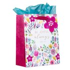 Gift Bag, Medium: Be Joyful Always, Floral, Includes Tissue and Gift Tag Stationery