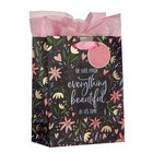Gift Bag Medium: He Has Made Everything Beautiful Navy Floral (Ecc. 3:11) Stationery