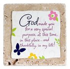 Sentiment Tile: God Made You... Darker Butterfly and Backing (Ceramic) Homeware