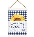 String Banner: Cast All Your Cares on Him, Sunflower/Blue Homeware