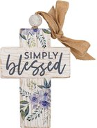 Cross: Simply Blessed, Purple Flowers, Bead and Ribbon For Hanging (Fir, Embossed Elm) Homeware