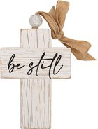 Cross: Be Still, Bead and Ribbon For Hanging (Fir, Embossed Elm) Homeware