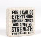 Stone Scripture Block: Everything Through Christ Engraved, Square (Phil 4:13) Homeware