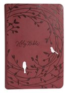 NKJV End-Of-Verse Reference Bible Giant Print Raspberry Birds (Red Letter Edition) Premium Imitation Leather
