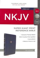 NKJV Reference Bible Super Giant Print Blue (Red Letter Edition) Premium Imitation Leather